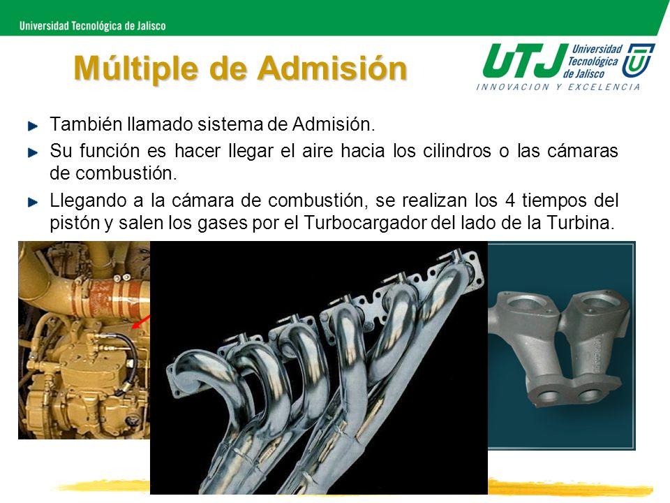 Múltiple de Admisión También llamado sistema de Admisión. Su función es hacer llegar el aire hacia los cilindros o las cámaras de combustión. Llegando