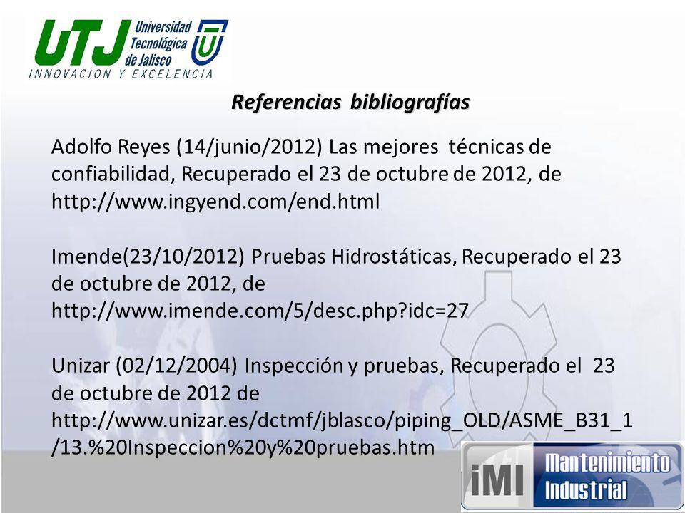 Referencias bibliografías Adolfo Reyes (14/junio/2012) Las mejores técnicas de confiabilidad, Recuperado el 23 de octubre de 2012, de http://www.ingye