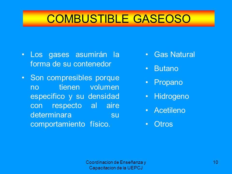 Coordinacion de Enseñanza y Capacitacion de la UEPCJ 10 COMBUSTIBLE GASEOSO Los gases asumirán la forma de su contenedor Son compresibles porque no ti