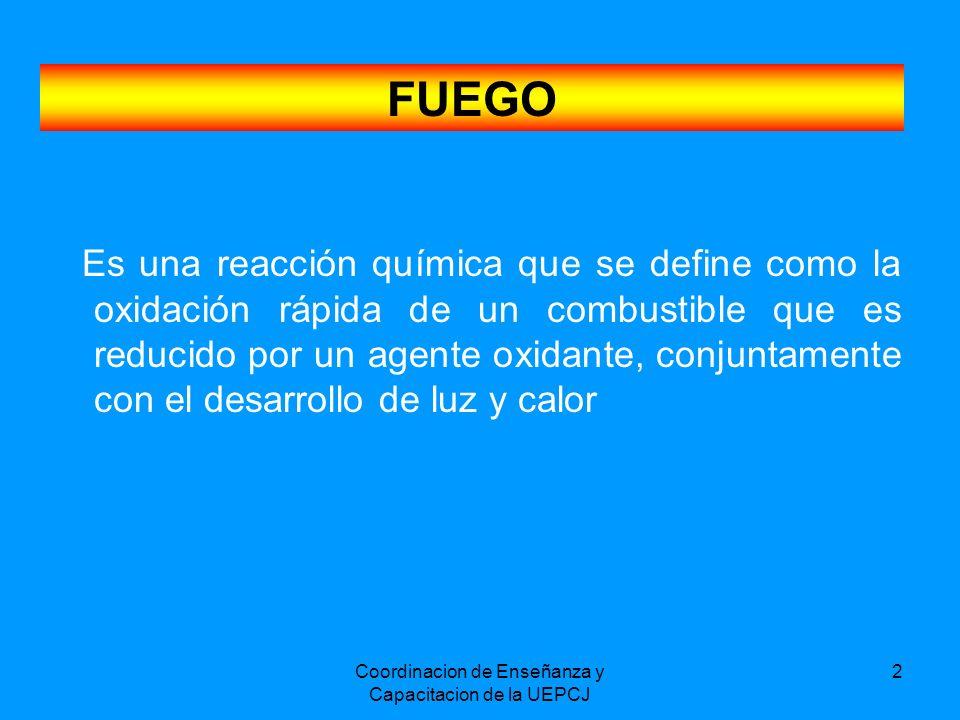 Coordinacion de Enseñanza y Capacitacion de la UEPCJ 2 FUEGO Es una reacción química que se define como la oxidación rápida de un combustible que es r