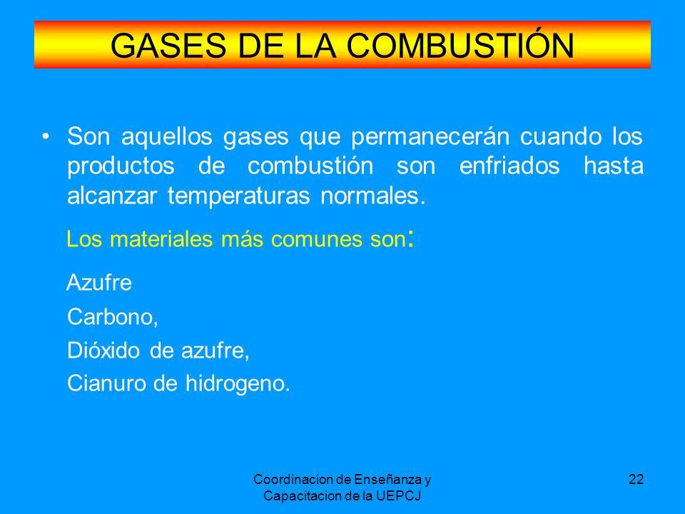 Coordinacion de Enseñanza y Capacitacion de la UEPCJ 22 GASES DE LA COMBUSTIÓN Son aquellos gases que permanecerán cuando los productos de combustión