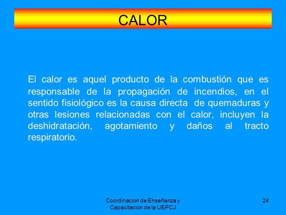 Coordinacion de Enseñanza y Capacitacion de la UEPCJ 24 CALOR El calor es aquel producto de la combustión que es responsable de la propagación de ince