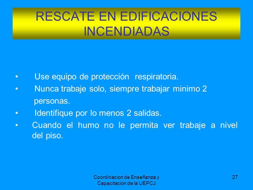 Coordinacion de Enseñanza y Capacitacion de la UEPCJ 27 Use equipo de protección respiratoria. Nunca trabaje solo, siempre trabajar minimo 2 personas.