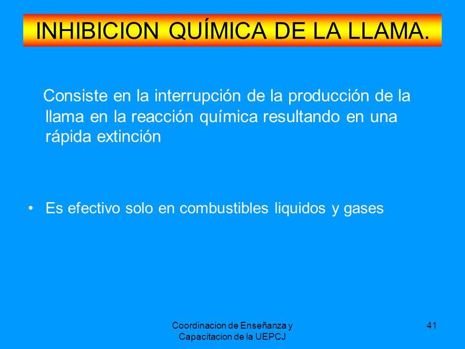 Coordinacion de Enseñanza y Capacitacion de la UEPCJ 41 INHIBICION QUÍMICA DE LA LLAMA. Consiste en la interrupción de la producción de la llama en la