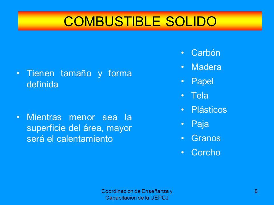 Coordinacion de Enseñanza y Capacitacion de la UEPCJ 8 COMBUSTIBLE SOLIDO Tienen tamaño y forma definida Mientras menor sea la superficie del área, ma