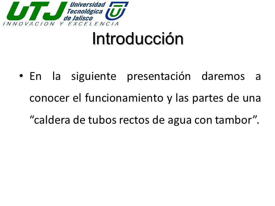 Introducción En la siguiente presentación daremos a conocer el funcionamiento y las partes de una caldera de tubos rectos de agua con tambor.