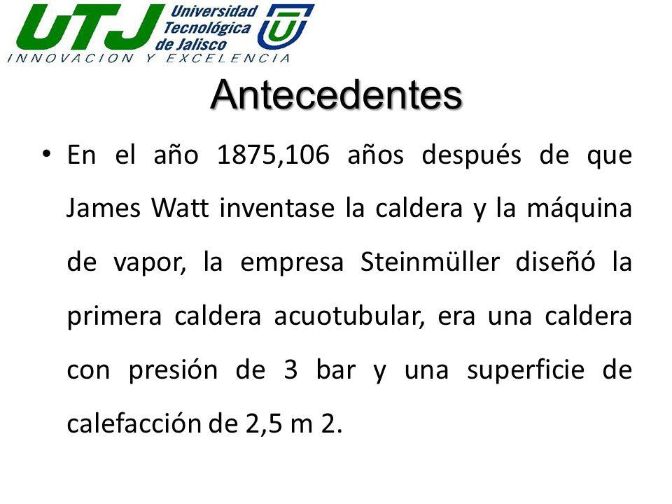 Antecedentes En el año 1875,106 años después de que James Watt inventase la caldera y la máquina de vapor, la empresa Steinmüller diseñó la primera ca