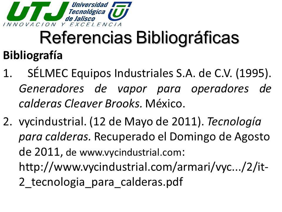 Referencias Bibliográficas Bibliografía 1. SÉLMEC Equipos Industriales S.A. de C.V. (1995). Generadores de vapor para operadores de calderas Cleaver B