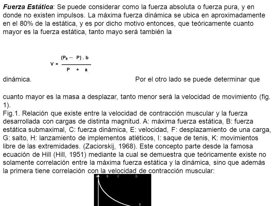 Fuerza Estática: Se puede considerar como la fuerza absoluta o fuerza pura, y en donde no existen impulsos. La máxima fuerza dinámica se ubica en apro