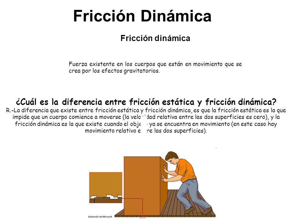 Fricción Dinámica ¿Cuál es la diferencia entre fricción estática y fricción dinámica? R.-La diferencia que existe entre fricción estática y fricción d