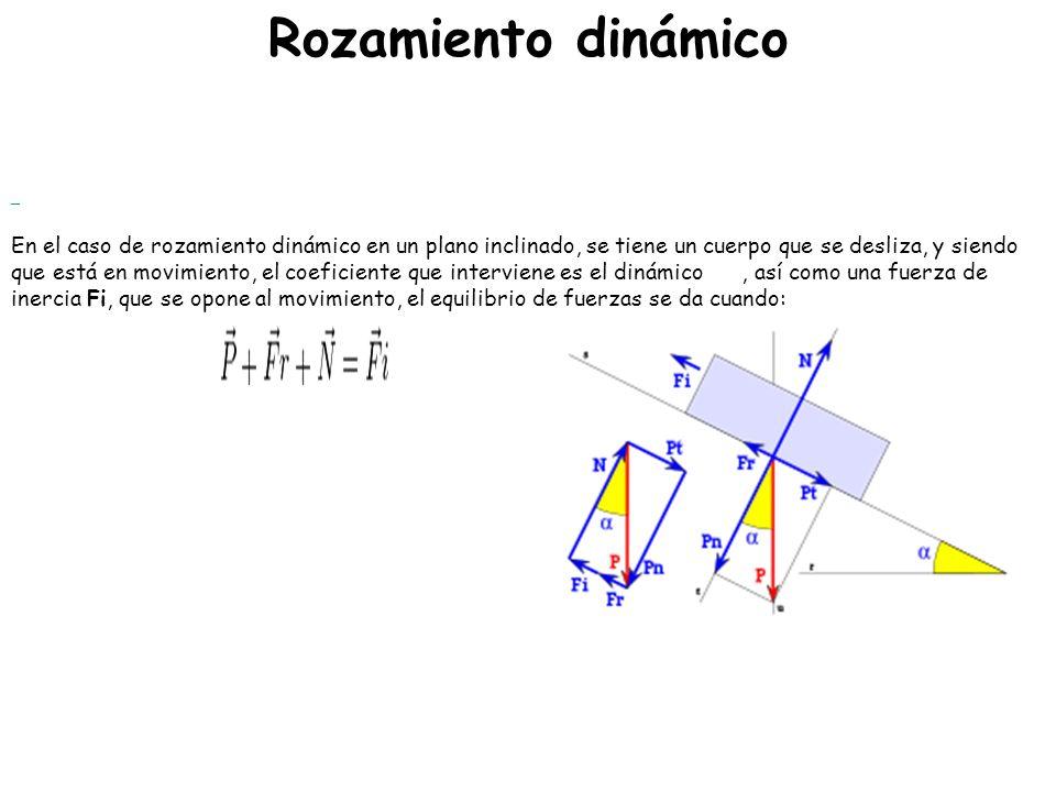 Valores de los coeficientes de fricción En la tabla se listan los coeficientes de rozamiento de algunas sustancias dondecoeficientes de rozamiento μ e = Coeficiente de rozamiento estático, μ d = Coeficiente de rozamiento dinámico.