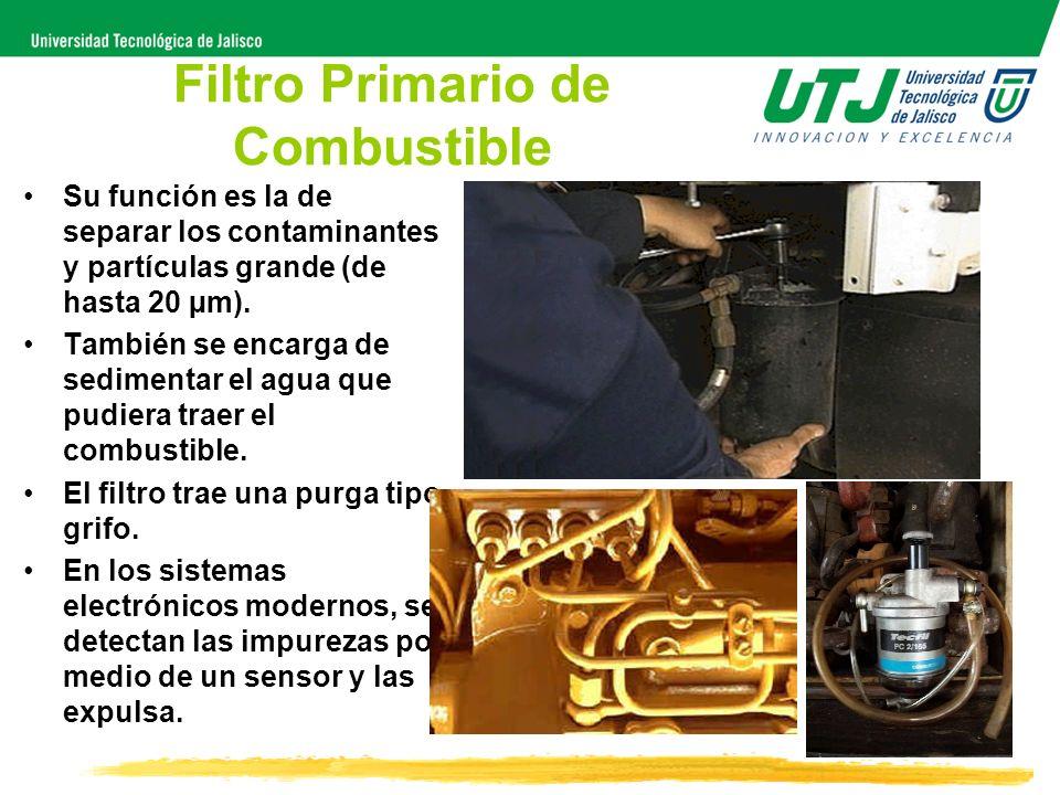 Filtro Primario de Combustible Su función es la de separar los contaminantes y partículas grande (de hasta 20 µm). También se encarga de sedimentar el