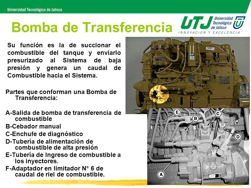 Bomba de Transferencia Partes que conforman una Bomba de Transferencia: A-Salida de bomba de transferencia de combustible B-Cebador manual C-Enchufe d