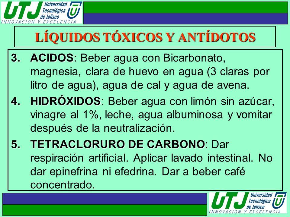 LÍQUIDOS TÓXICOS Y ANTÍDOTOS 3.ACIDOS 3.ACIDOS: Beber agua con Bicarbonato, magnesia, clara de huevo en agua (3 claras por litro de agua), agua de cal