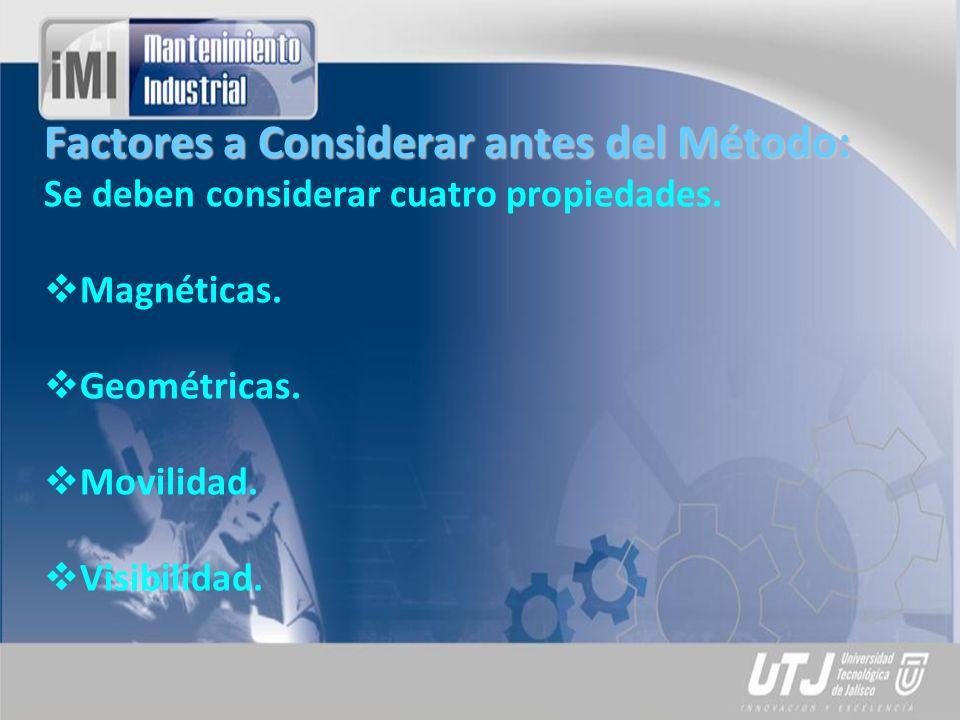 Factores a Considerar antes del Método: Se deben considerar cuatro propiedades. Magnéticas. Geométricas. Movilidad. Visibilidad.