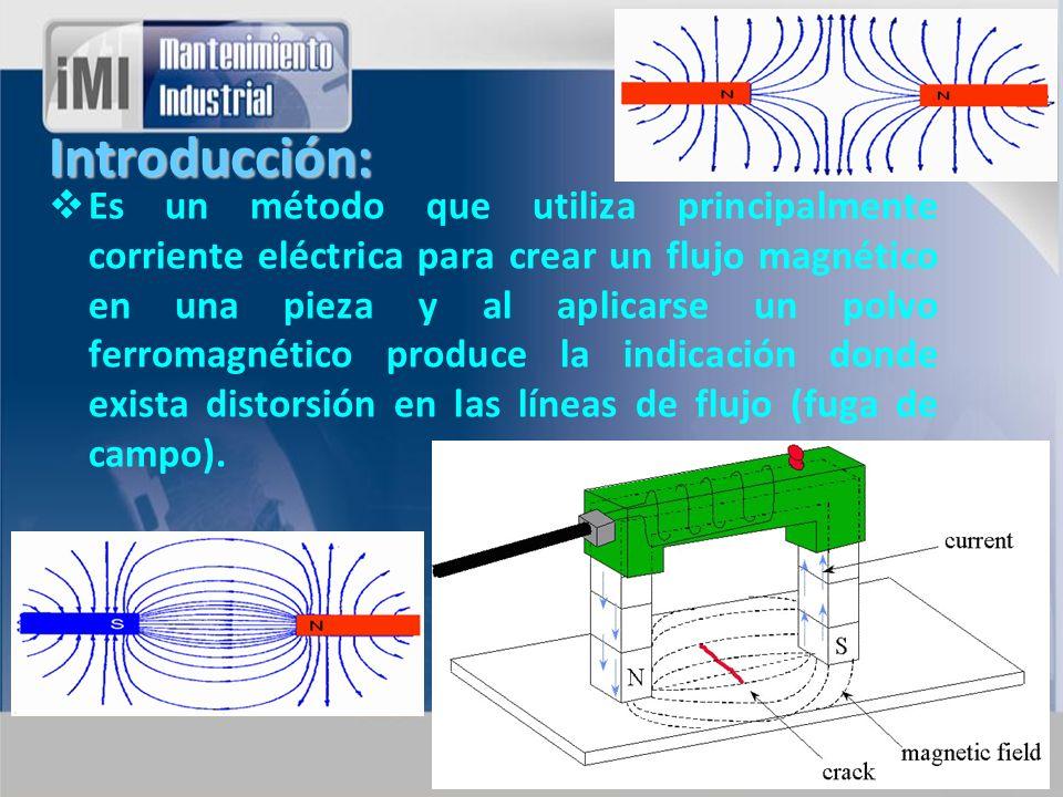 Introducción: Es un método que utiliza principalmente corriente eléctrica para crear un flujo magnético en una pieza y al aplicarse un polvo ferromagn