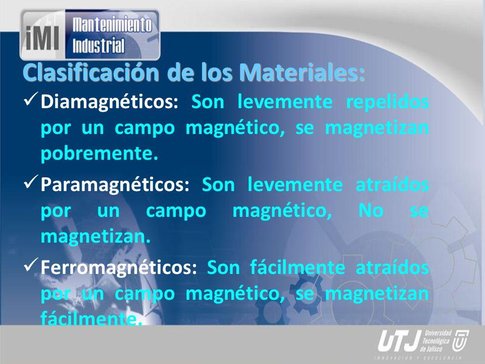 Clasificación de los Materiales: Diamagnéticos: Son levemente repelidos por un campo magnético, se magnetizan pobremente. Paramagnéticos: Son levement
