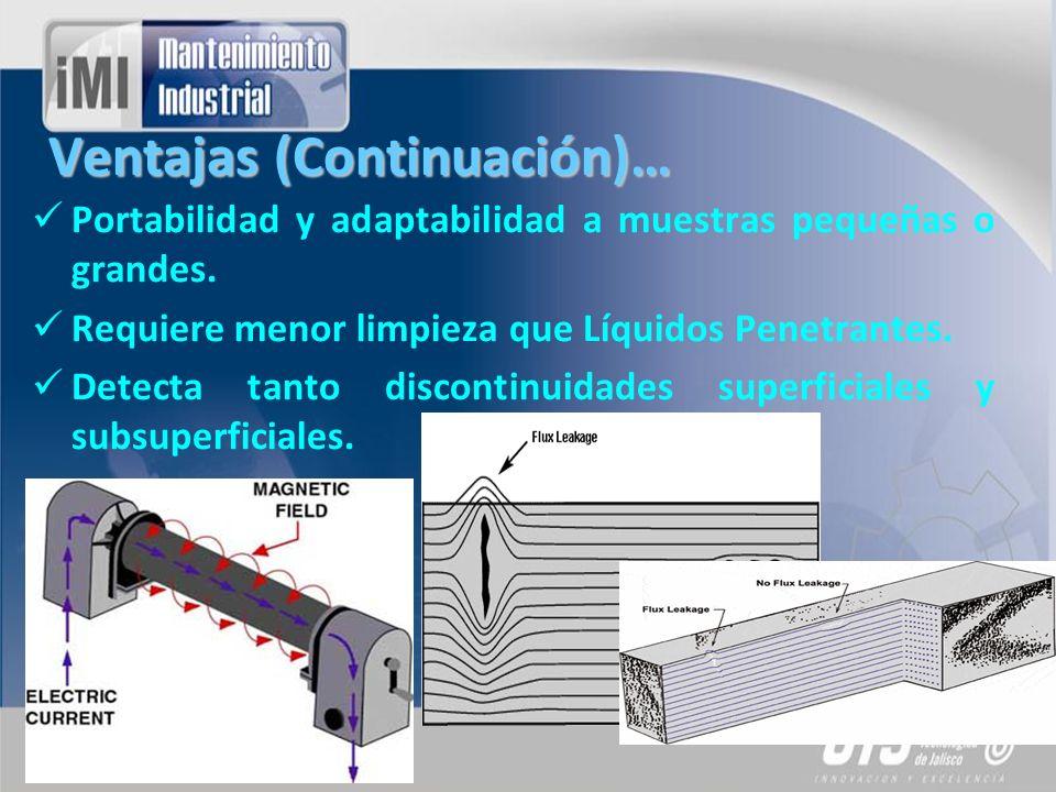 Ventajas (Continuación)… Portabilidad y adaptabilidad a muestras pequeñas o grandes. Requiere menor limpieza que Líquidos Penetrantes. Detecta tanto d