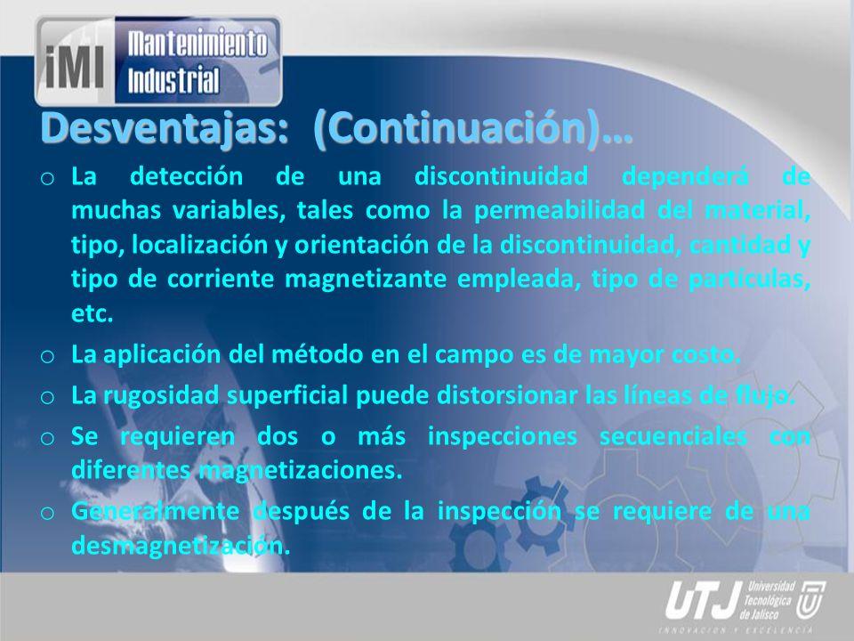 Desventajas: (Continuación)… o La detección de una discontinuidad dependerá de muchas variables, tales como la permeabilidad del material, tipo, local