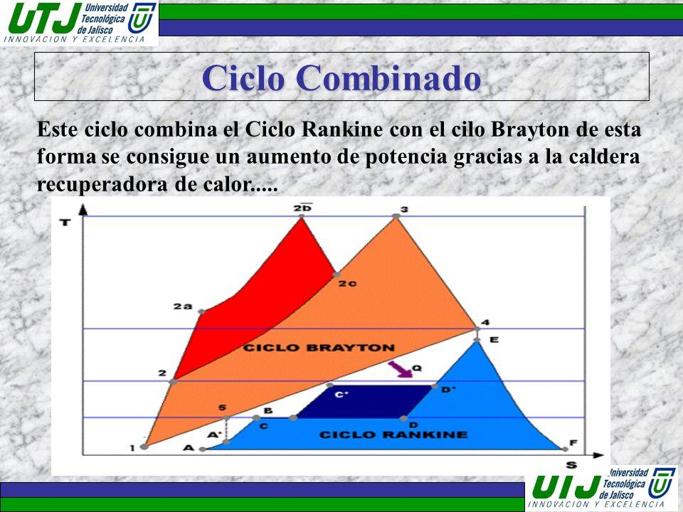 Ciclo Combinado Este ciclo combina el Ciclo Rankine con el cilo Brayton de esta forma se consigue un aumento de potencia gracias a la caldera recupera
