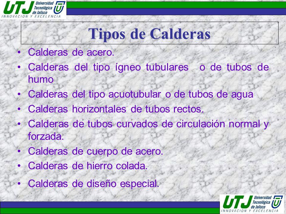 Tipos de Calderas Calderas de acero. Calderas del tipo ígneo tubulares o de tubos de humo Calderas del tipo acuotubular o de tubos de agua Calderas ho