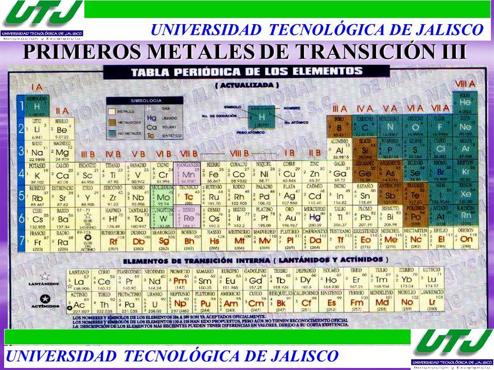PRIMEROS METALES DE TRANSICIÓN III UNIVERSIDAD TECNOLÓGICA DE JALISCO
