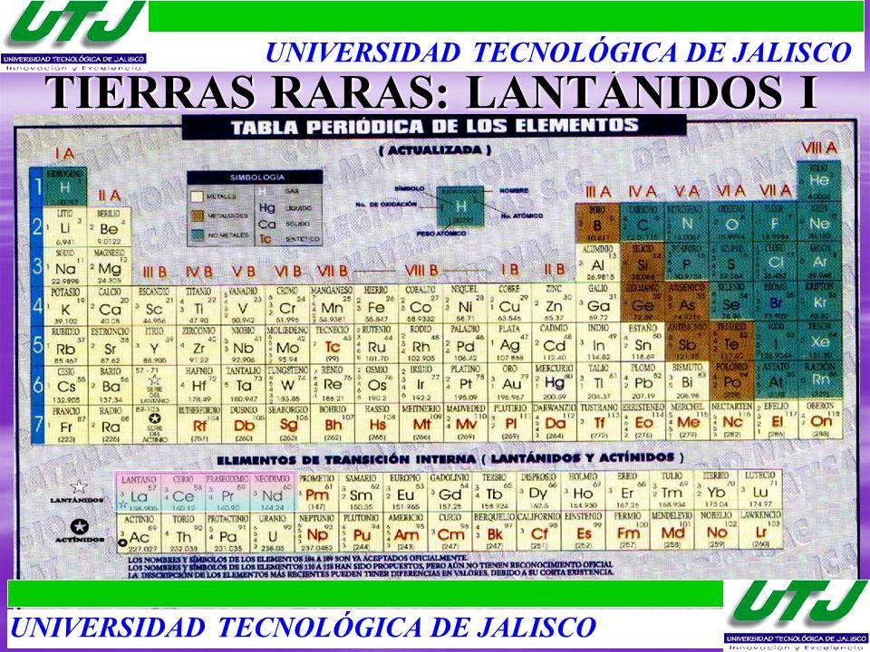 TIERRAS RARAS: LANTÁNIDOS I UNIVERSIDAD TECNOLÓGICA DE JALISCO