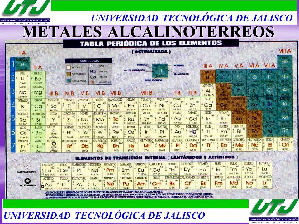 METALES ALCALINOTÉRREOS UNIVERSIDAD TECNOLÓGICA DE JALISCO