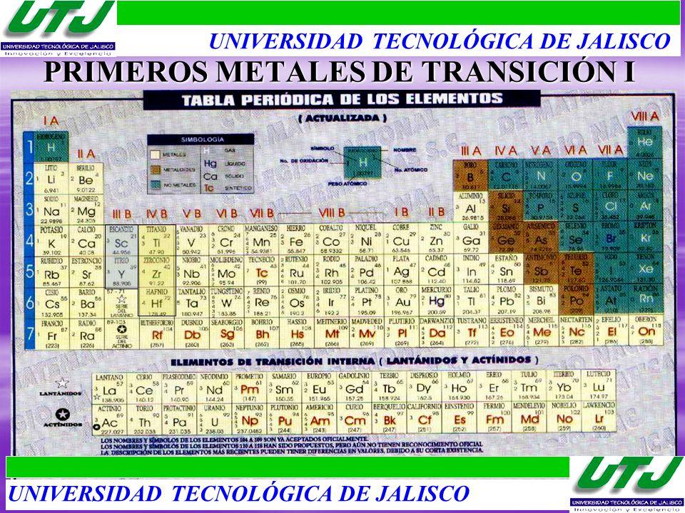 PRIMEROS METALES DE TRANSICIÓN I UNIVERSIDAD TECNOLÓGICA DE JALISCO