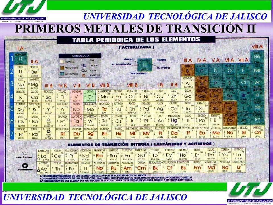 PRIMEROS METALES DE TRANSICIÓN II UNIVERSIDAD TECNOLÓGICA DE JALISCO