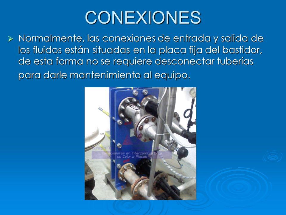 CONEXIONES Normalmente, las conexiones de entrada y salida de los fluidos están situadas en la placa fija del bastidor, de esta forma no se requiere d