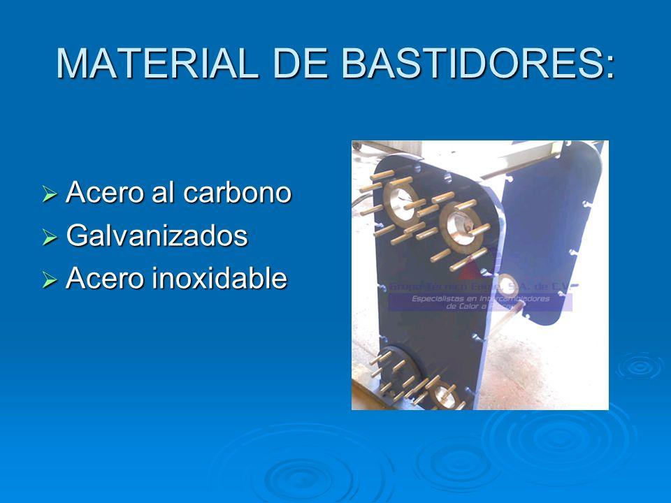 MATERIAL DE BASTIDORES: Acero al carbono Acero al carbono Galvanizados Galvanizados Acero inoxidable Acero inoxidable