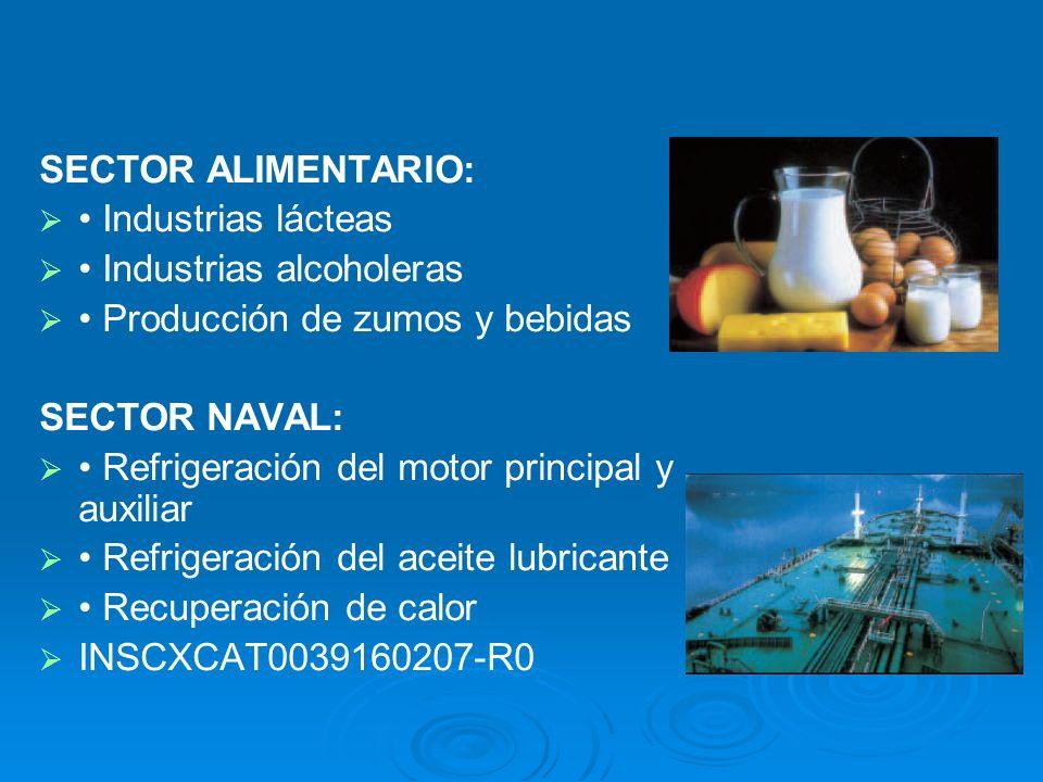 SECTOR ALIMENTARIO: Industrias lácteas Industrias alcoholeras Producción de zumos y bebidas SECTOR NAVAL: Refrigeración del motor principal y auxiliar