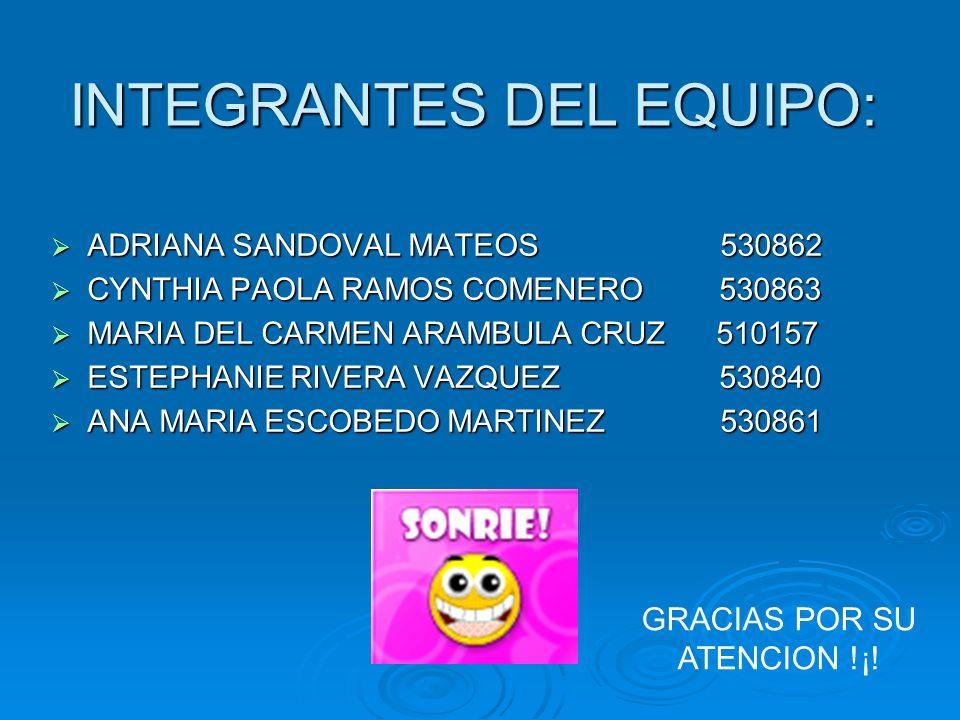 INTEGRANTES DEL EQUIPO: ADRIANA SANDOVAL MATEOS 530862 ADRIANA SANDOVAL MATEOS 530862 CYNTHIA PAOLA RAMOS COMENERO 530863 CYNTHIA PAOLA RAMOS COMENERO