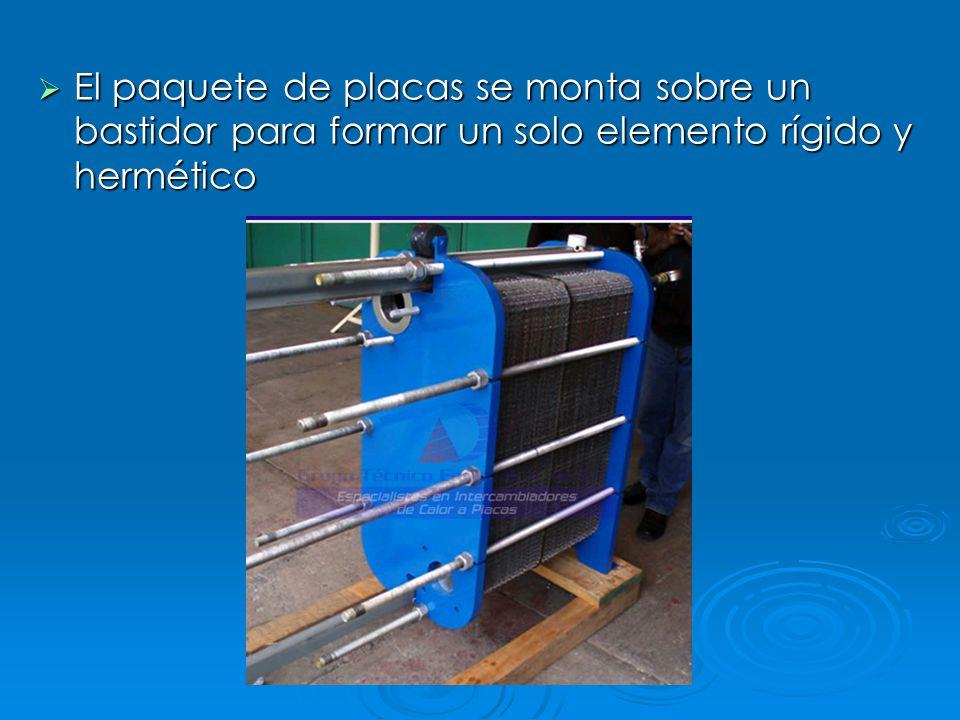 El paquete de placas se monta sobre un bastidor para formar un solo elemento rígido y hermético El paquete de placas se monta sobre un bastidor para f