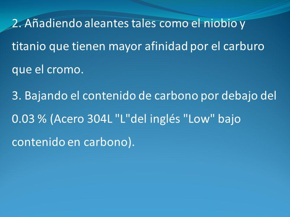 2. Añadiendo aleantes tales como el niobio y titanio que tienen mayor afinidad por el carburo que el cromo. 3. Bajando el contenido de carbono por deb