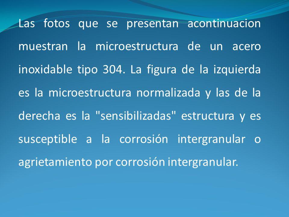 Las fotos que se presentan acontinuacion muestran la microestructura de un acero inoxidable tipo 304. La figura de la izquierda es la microestructura