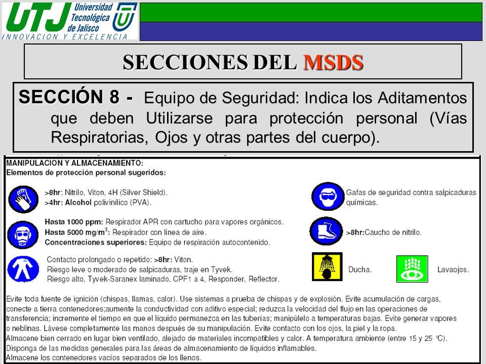 SECCIONES DEL MSDS SECCIÓN 8 - SECCIÓN 8 - Equipo de Seguridad: Indica los Aditamentos que deben Utilizarse para protección personal (Vías Respiratori