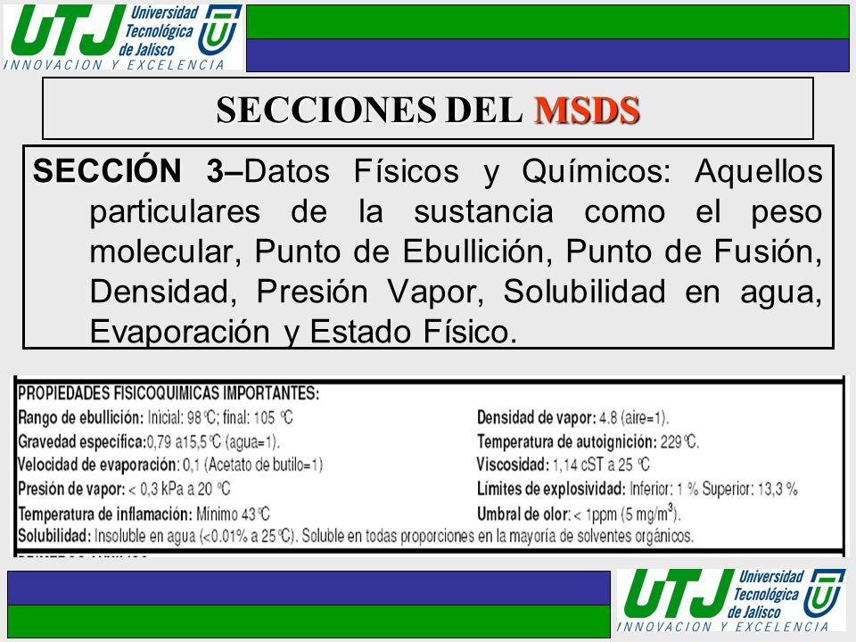 SECCIONES DEL MSDS SECCIÓN 3– SECCIÓN 3–Datos Físicos y Químicos: Aquellos particulares de la sustancia como el peso molecular, Punto de Ebullición, P