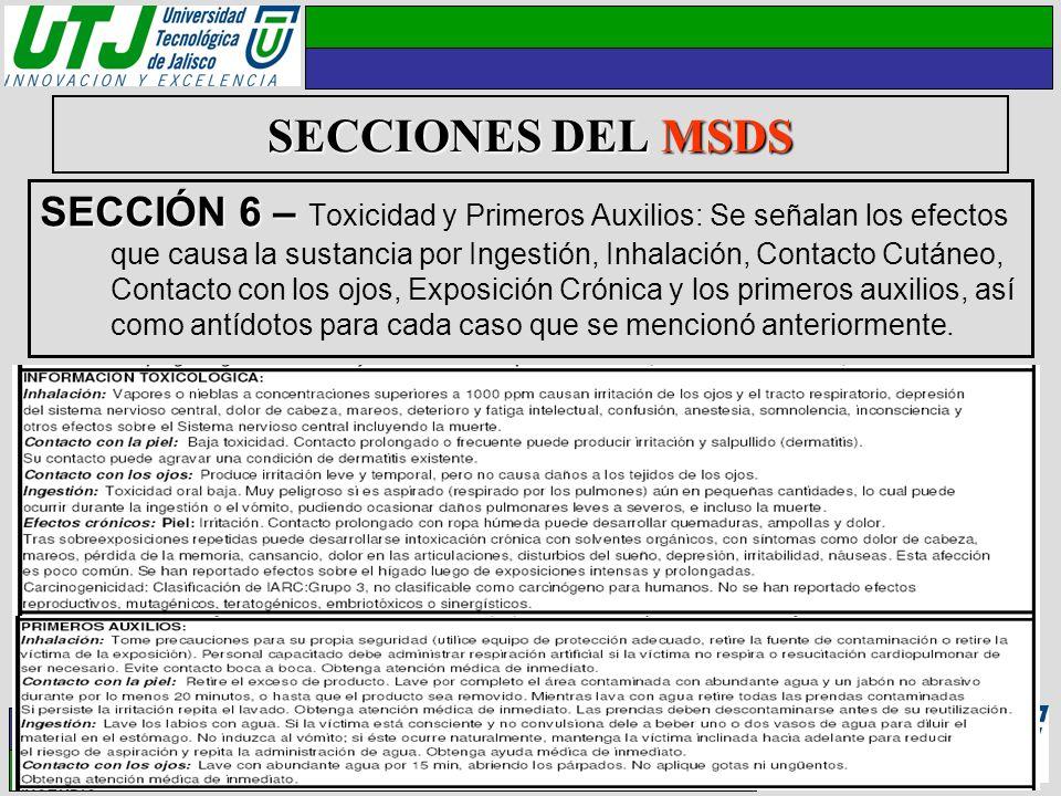 SECCIONES DEL MSDS SECCIÓN 6 – SECCIÓN 6 – Toxicidad y Primeros Auxilios: Se señalan los efectos que causa la sustancia por Ingestión, Inhalación, Con