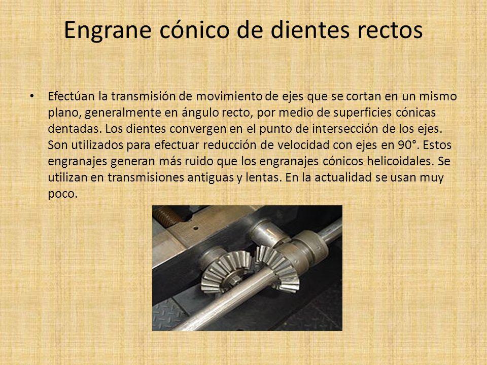 Engrane cónico de dientes rectos Efectúan la transmisión de movimiento de ejes que se cortan en un mismo plano, generalmente en ángulo recto, por medi