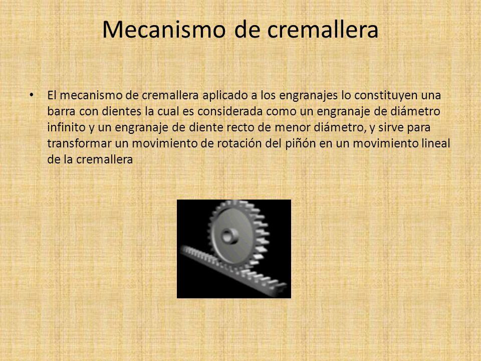 Mecanismo de cremallera El mecanismo de cremallera aplicado a los engranajes lo constituyen una barra con dientes la cual es considerada como un engra