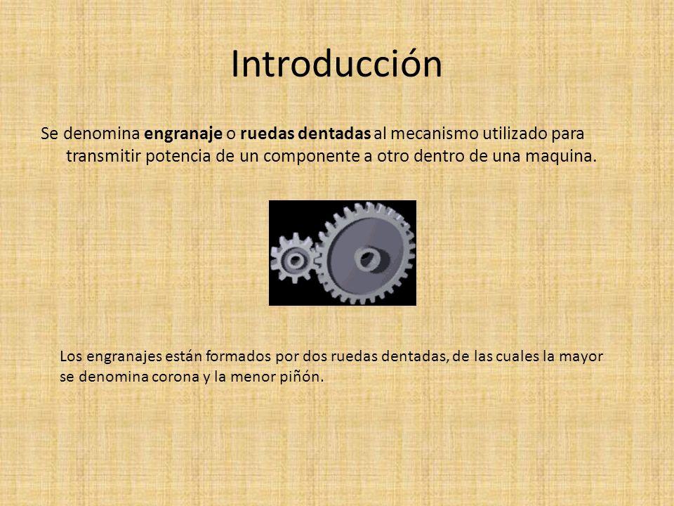 Introducción Se denomina engranaje o ruedas dentadas al mecanismo utilizado para transmitir potencia de un componente a otro dentro de una maquina. Lo