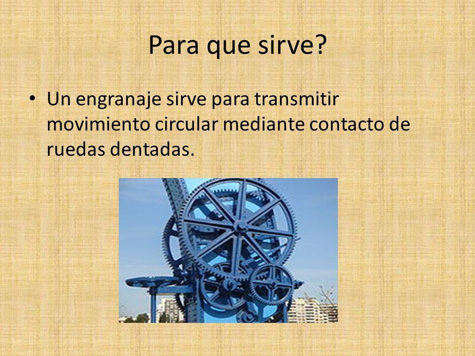 Para que sirve? Un engranaje sirve para transmitir movimiento circular mediante contacto de ruedas dentadas.
