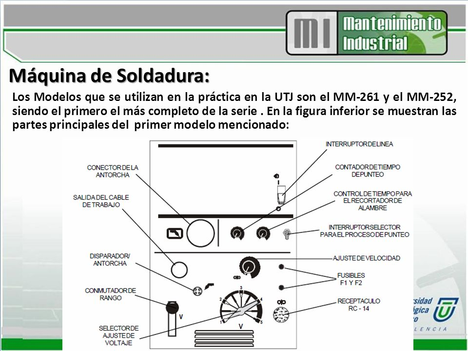 Máquina de Soldadura: Los Modelos que se utilizan en la práctica en la UTJ son el MM-261 y el MM-252, siendo el primero el más completo de la serie. E
