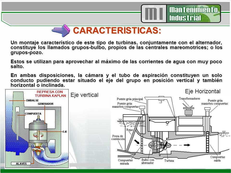 CARACTERÍSTICAS: Un montaje característico de este tipo de turbinas, conjuntamente con el alternador, constituye los llamados grupos-bulbo, propios de