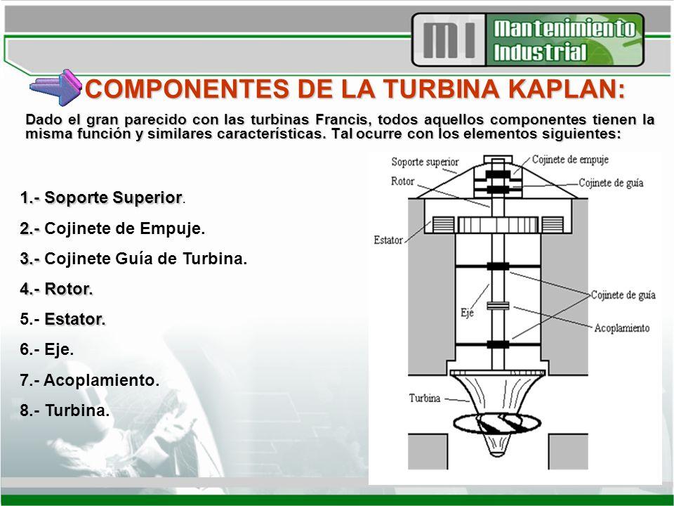 COMPONENTES DE LA TURBINA KAPLAN: Dado el gran parecido con las turbinas Francis, todos aquellos componentes tienen la misma función y similares carac
