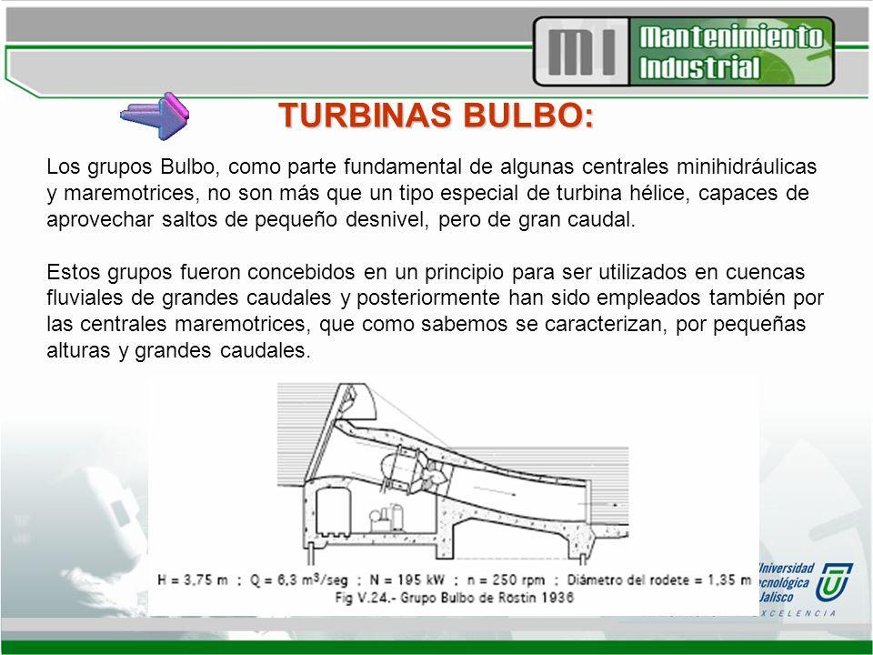 TURBINAS BULBO: Los grupos Bulbo, como parte fundamental de algunas centrales minihidráulicas y maremotrices, no son más que un tipo especial de turbi