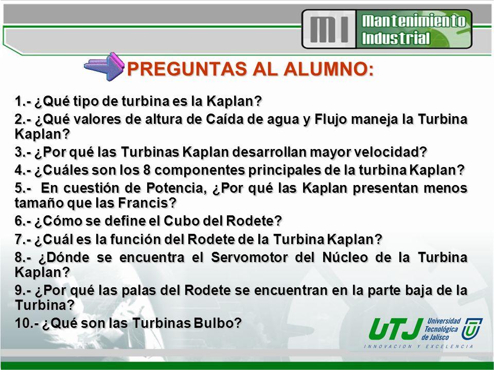 PREGUNTAS AL ALUMNO: 1.- ¿Qué tipo de turbina es la Kaplan? 2.- ¿Qué valores de altura de Caída de agua y Flujo maneja la Turbina Kaplan? 3.- ¿Por qué