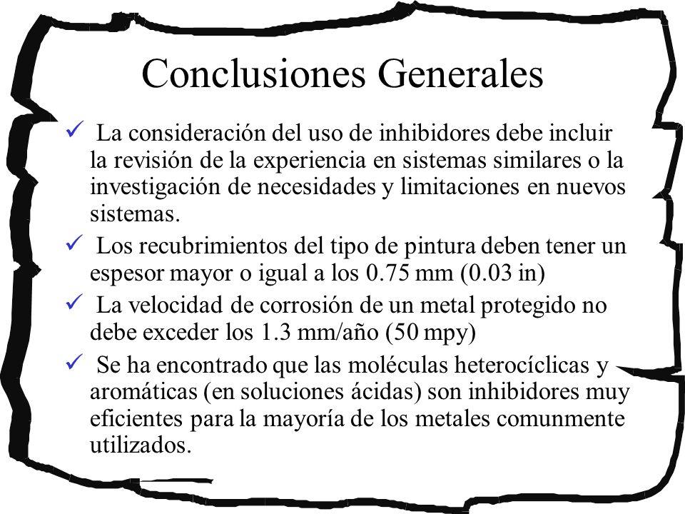 Conclusiones Generales La consideración del uso de inhibidores debe incluir la revisión de la experiencia en sistemas similares o la investigación de